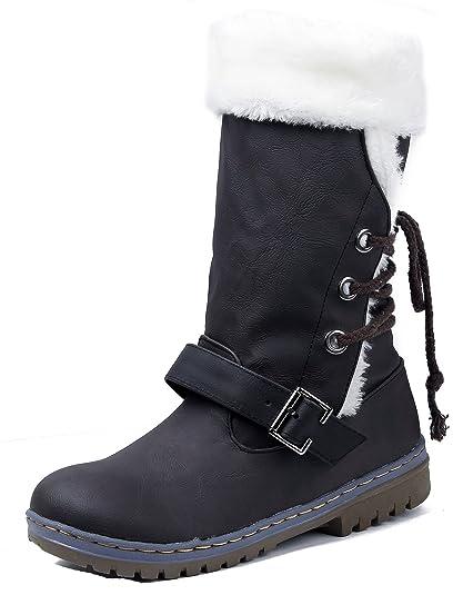 AgeeMi Shoes Femme Bottes de Neige Flat Confort Suedé Classic Hiver Lacets Chaudes