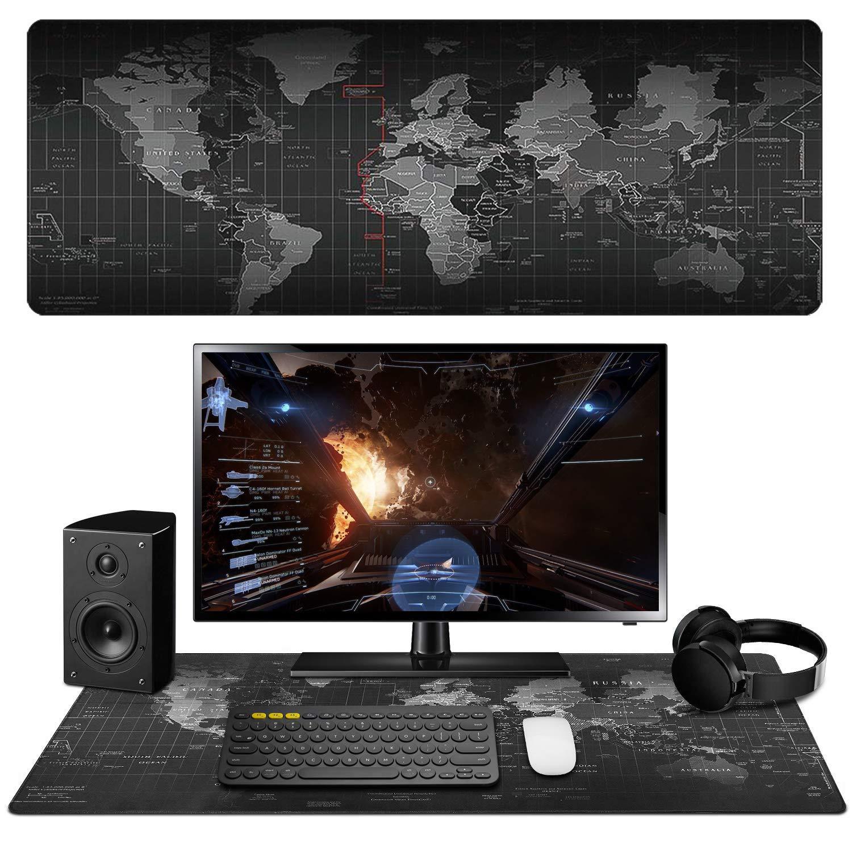 computer per ufficio design mappamondo. tastiera e mouse XXL misura grande antiscivolo UNHO Tappetino per mouse impermeabile 80 x 30 cm tappetino da scrivania