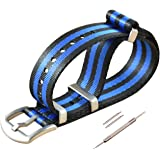 MZBUTIQ Nylon Watch Band Replacement Brushed Buckle 18mm 20mm 22mm 24mm