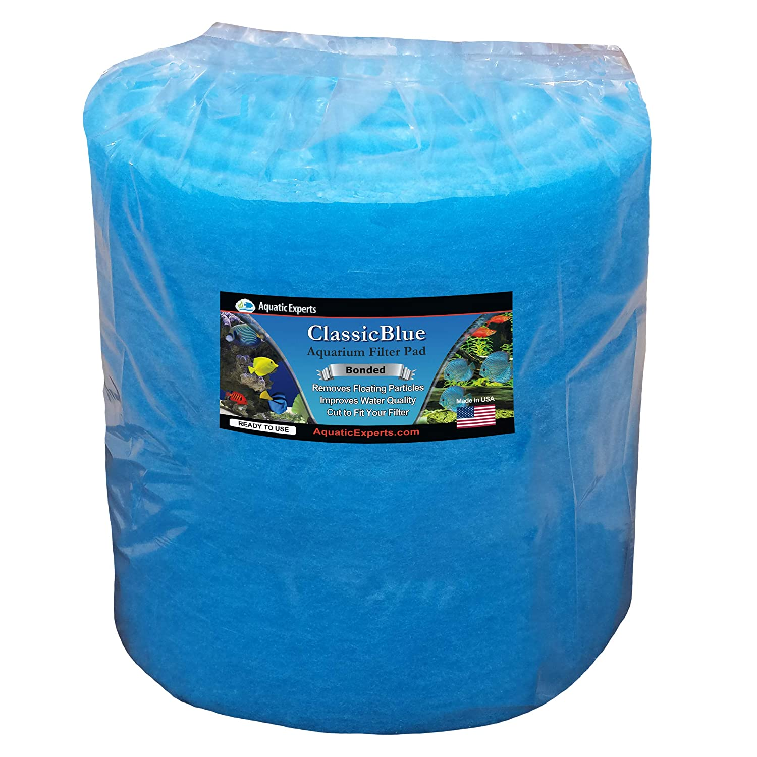 12  by 12 Feet by 3 4  Thick Aquatic Experts Classic Bonded Aquarium Filter Pad 12 Inches by 72 Inches by .75 Inch  bluee and White Aquarium Filter Media Roll Bulk Can Be Cut to Fit Most Filters, Made in USA