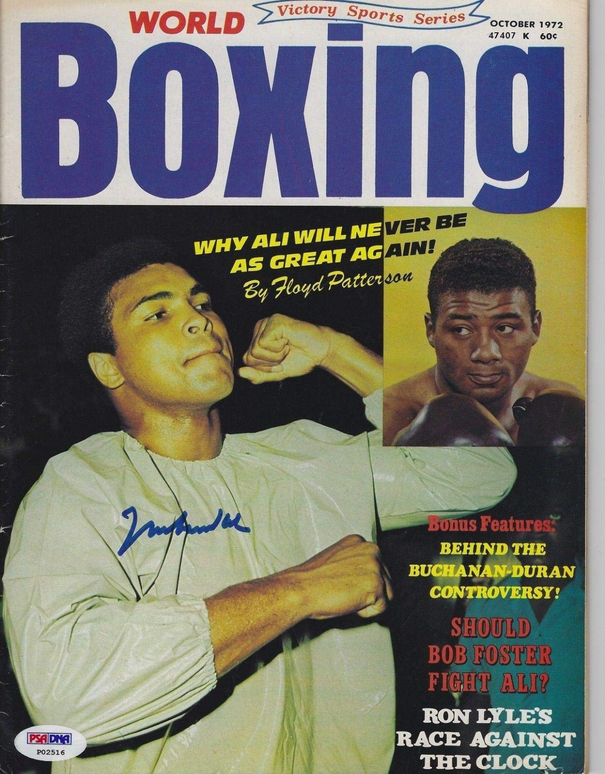 MUHAMMAD ALI Signed WORLD BOXING Magazine with COA (NO Label) PSA/DNA Certified Autographed Boxing Magazines