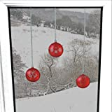 Articlings 12 x Bauble Window Clings with Glitter Patterns and Strings Colour = Red
