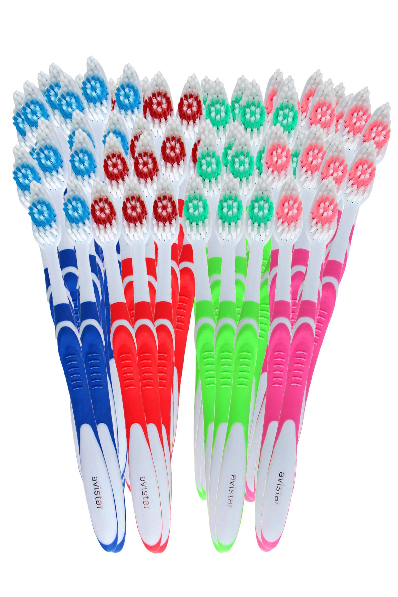 148 Individually Packaged Large Head Medium Bristle Disposable Bulk Toothbrushes - Multi Color Pack - Convenient & Affordable by Avistar