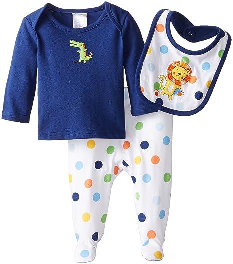 3aac430a5dd5 Amazon.com  absorba Baby Boys  Newborn Dinosaur 3 Piece Footed Pant ...
