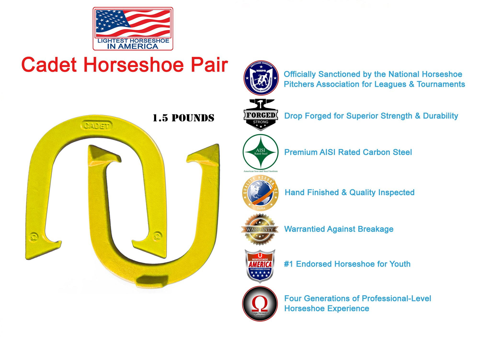 Light Weight ''Cadet'' Pitching Horseshoes - Yellow Finish - NHPA Sanctioned for Tournament Play - Drop Forged Steel - One Pair (2 Shoes)
