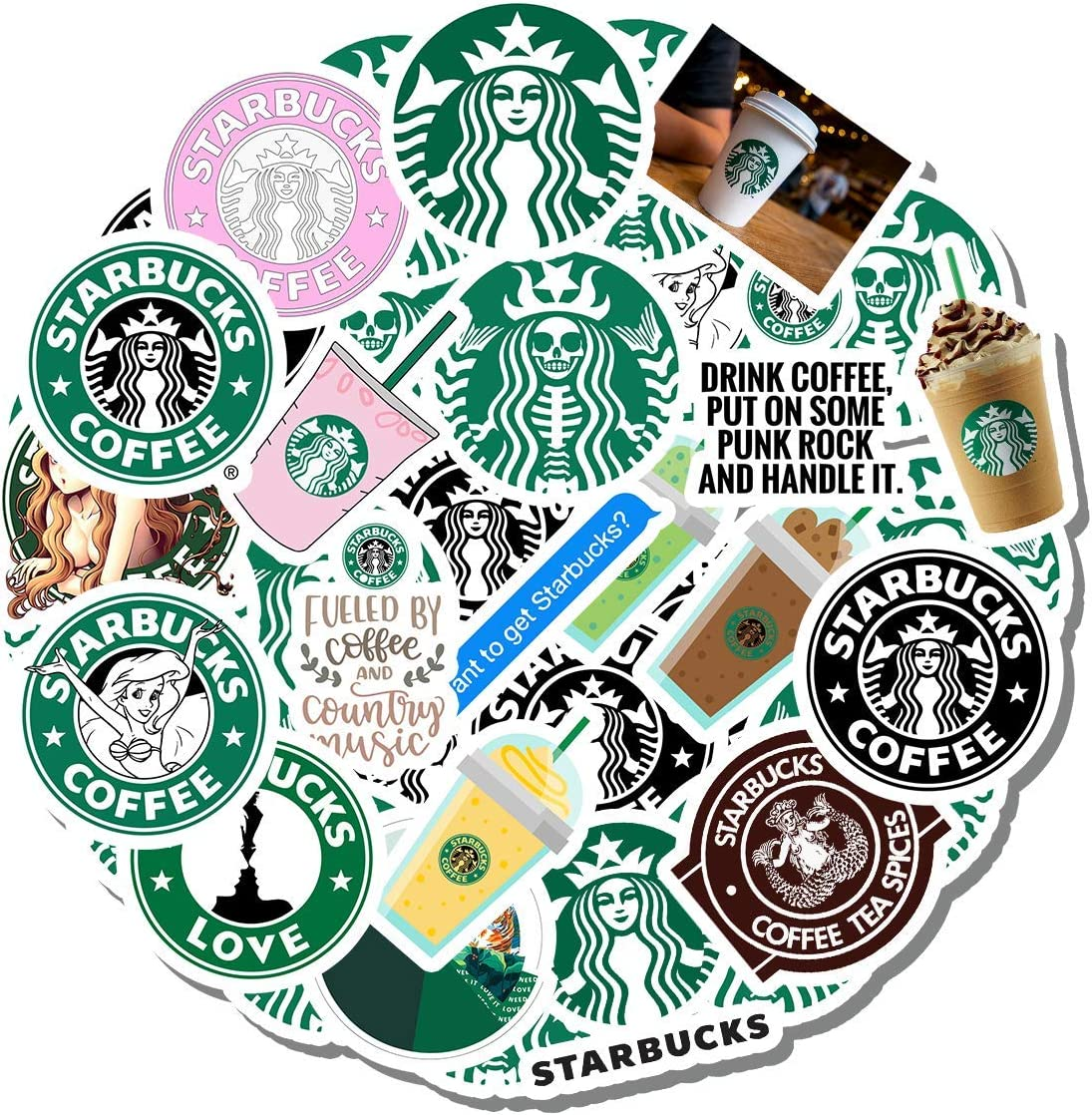 20 PCS Stickers Pack Starbuck Aesthetic Vinyl Colorful Waterproof for Water Bottle Laptop Scrapbooking Luggage Guitar Skateboard
