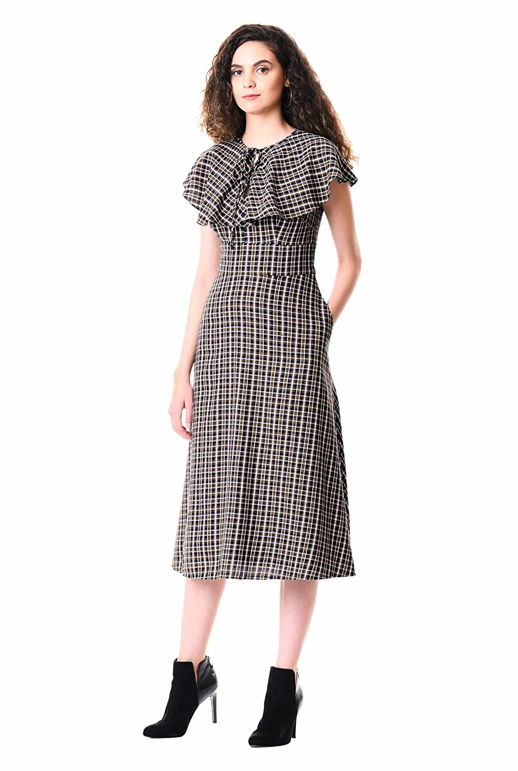1930s Art Deco Plus Size Dresses | Tea Dresses, Party Dresses eShakti Womens Ruffle Cotton Twill Check Dress $79.95 AT vintagedancer.com