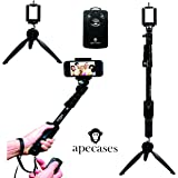 ApeCases Branded Extendable handheld Yunteng 1288 Pro 2-In-1 Adjustable Self Portrait Yunteng Selfie Stick Monopod + YunTeng YT-228 Mini Tripod for Camera and iPhone, Smartphones with Bluetooth Remote Shutter