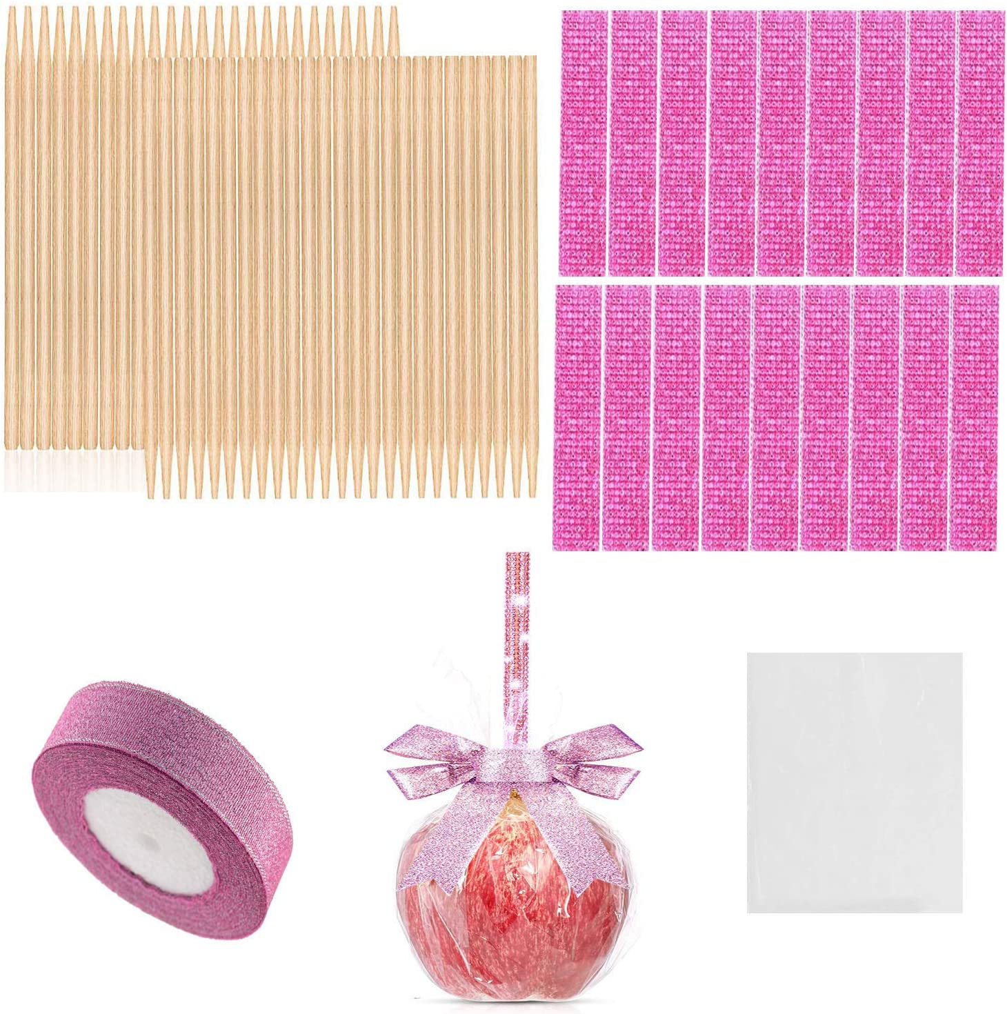 126 Pieces Candy Making Accessory for Festival Party, 50 Pcs Bamboo Candy Sticks, 25 Bling Bling Rhinestone Sticker, 50 Candy Glass Paper, 1 Roll 25 Yard Glitter Ribbon (Gold/Pink) (Pink)
