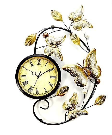 Butterflies Metal Wall Art and Wall Clock: Amazon.co.uk: Kitchen & Home