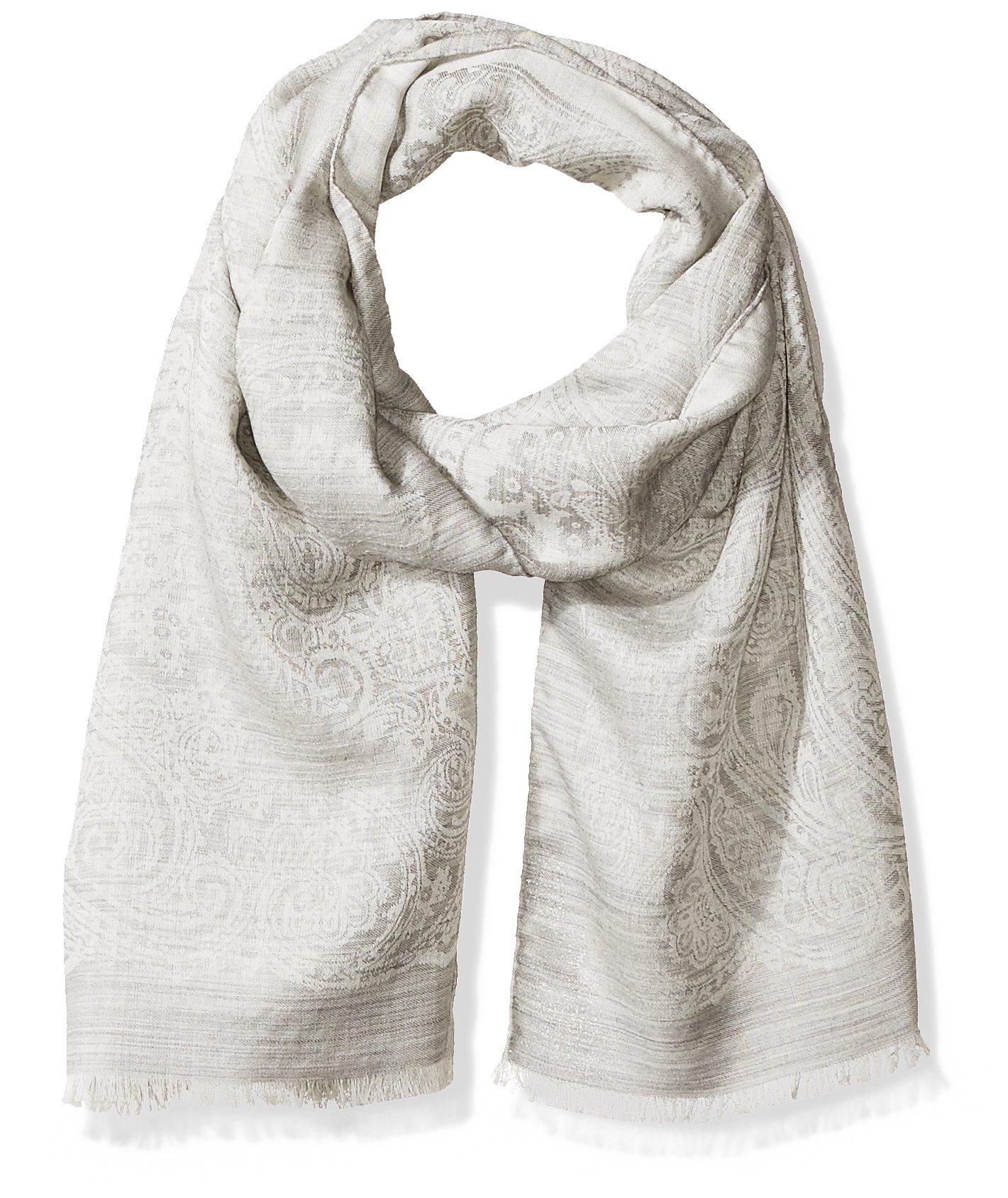Hickey Freeman Men's Italian Linen Silk Repeat Paisley Scarf, Grey One Size