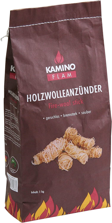 Kamino - Flam – Encendido de lana (1 kg), Lana de madera, Pastillas de lana para chimeneas, estufas, calderas y barbacoas, Madera de encendido, Briquetas para chimenea