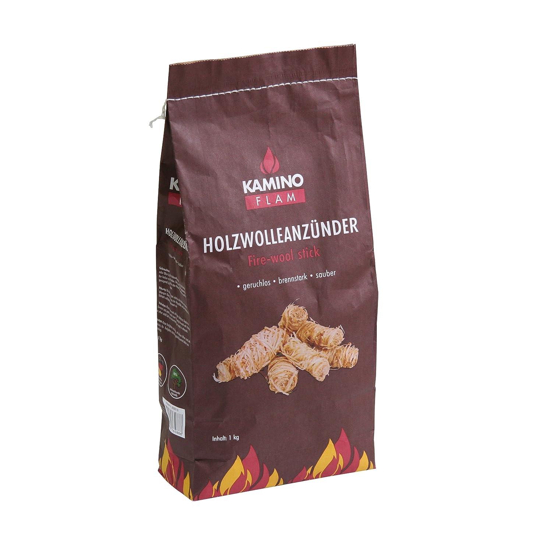 Kamino - Flam – Encendido de lana (1 kg), Lana de madera, Pastillas de lana para chimeneas, estufas, calderas y barbacoas, Madera de encendido, Briquetas para chimenea Kamino Flam 388818
