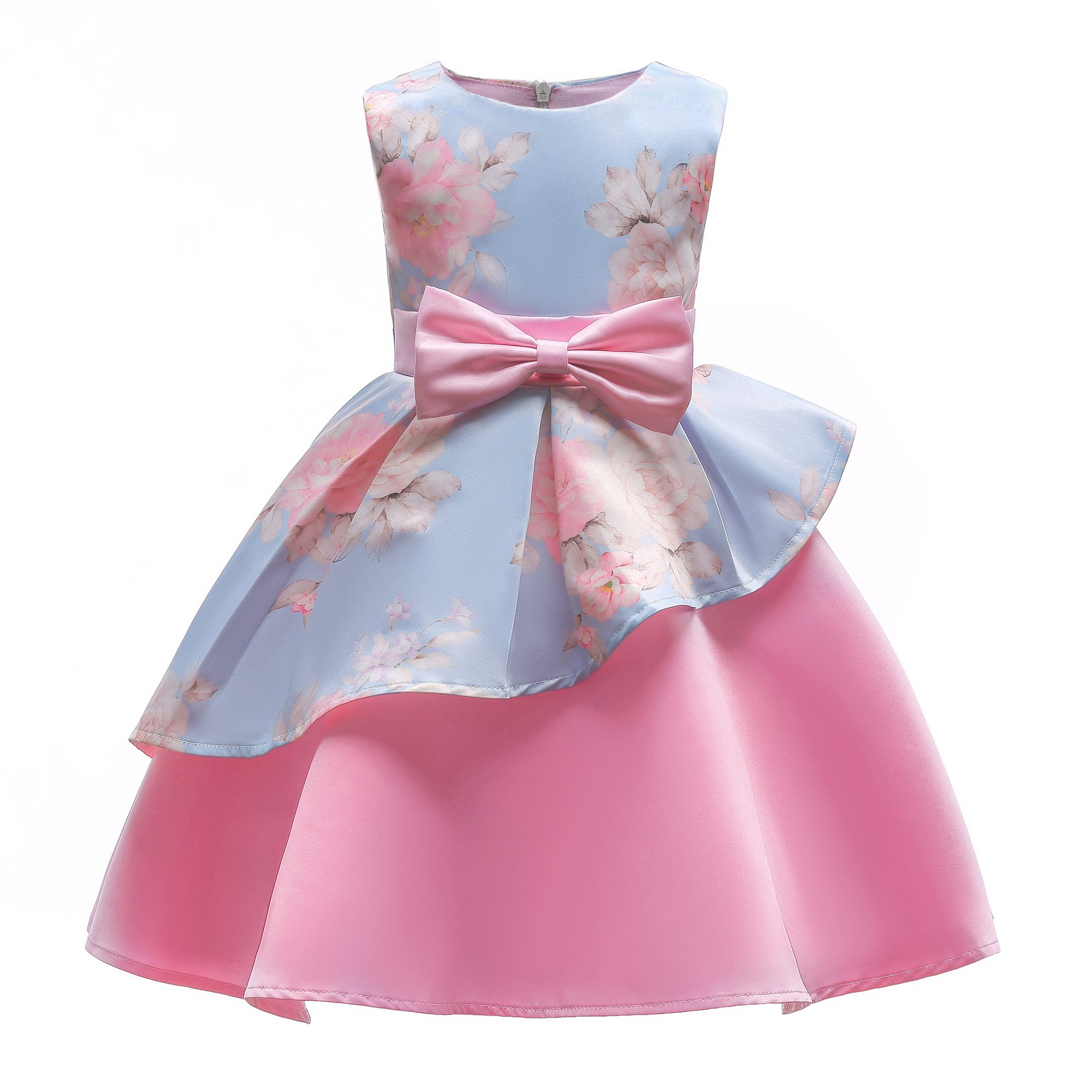 YCJemu Flower Girls Dresses Kids Floral Print Party Dress Princess Gowns Bow Party Wedding Dresses,Blue,5-6 Tall