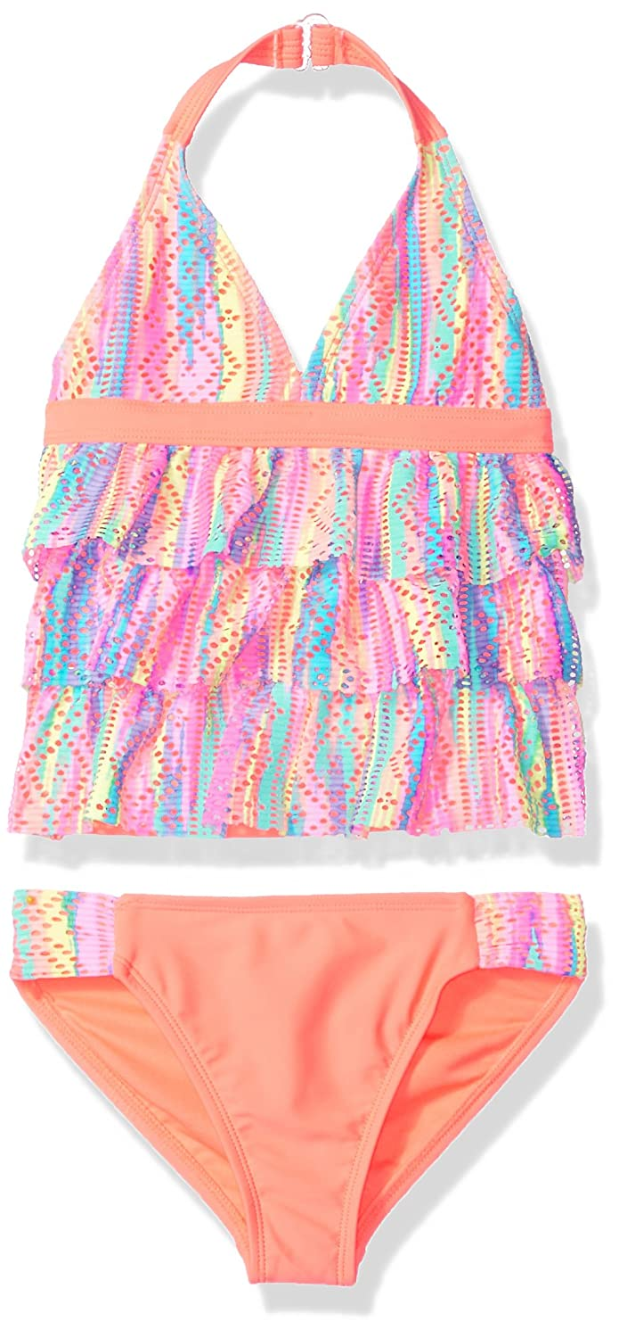 Angel Beach Little Girls Printed Crochet Ruffle Tankini Swim Set AB184267