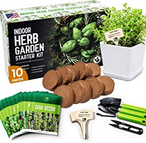 REALPETALED Indoor Herb Garden 10 Non-GMO Herbs– Complete Kitchen Herb Garden with 10 Reusable Pots, Drip Trays, Soil Discs and Seed Packets - Herbs Garden Starter Kit with Tools Set