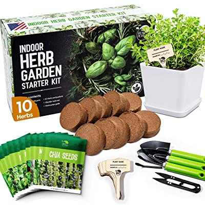 Buy Realpetaled Indoor Herb Garden 10 Non Gmo Herbs Complete Kitchen Herb Garden With 10 Reusable Pots Drip Trays Soil Discs And Seed Packets Herbs Garden Starter Kit With Tools Set Online