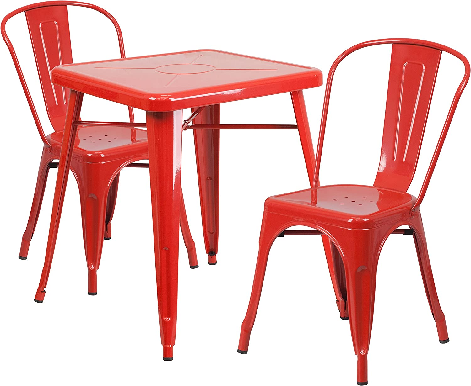 Flash Furniture 23.75'' Square Red Metal Indoor-Outdoor Table Set with 2 Stack Chairs