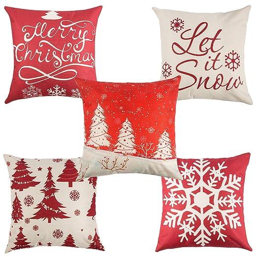 Yangbaga Fundas Navideñas para Cojines Algodón Lino Throw Pillow Juego de 5 Fundas de Almohada para Decoración de Hogar,Adorno para Fiesta de Navidad ...