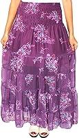 Womens Printed Indian Long Beach Skirts Maxi Length India Apparel (Purple)
