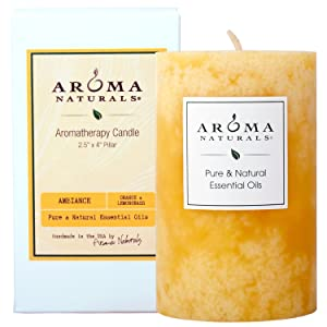 Aroma Naturals Essential Oil Orange and Lemongrass Scented Pillar Candle, Ambiance, 2.5 inch x 4 inch