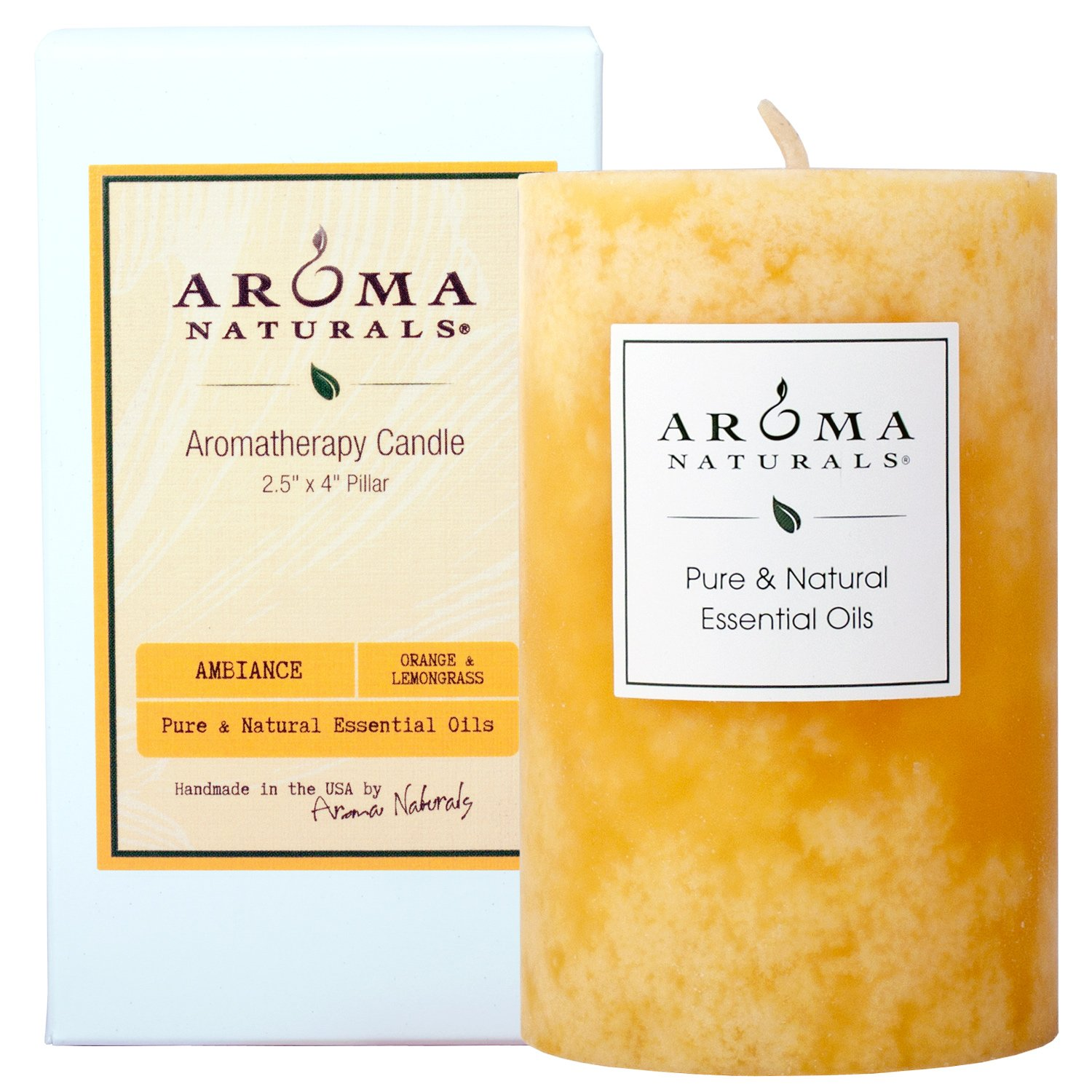 Aroma Naturals Essential Oil Orange and Lemongrass Scented Pillar Candle, Ambiance, 2.5 inch x 4 inch by Aroma Naturals