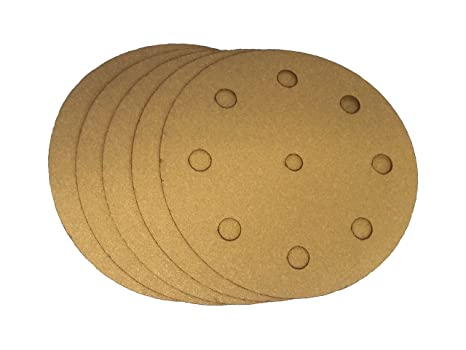 5 Inch X 8 Hole Gold Hook and Loop Grip Sanding Discs 50 Pack, 120 Grit