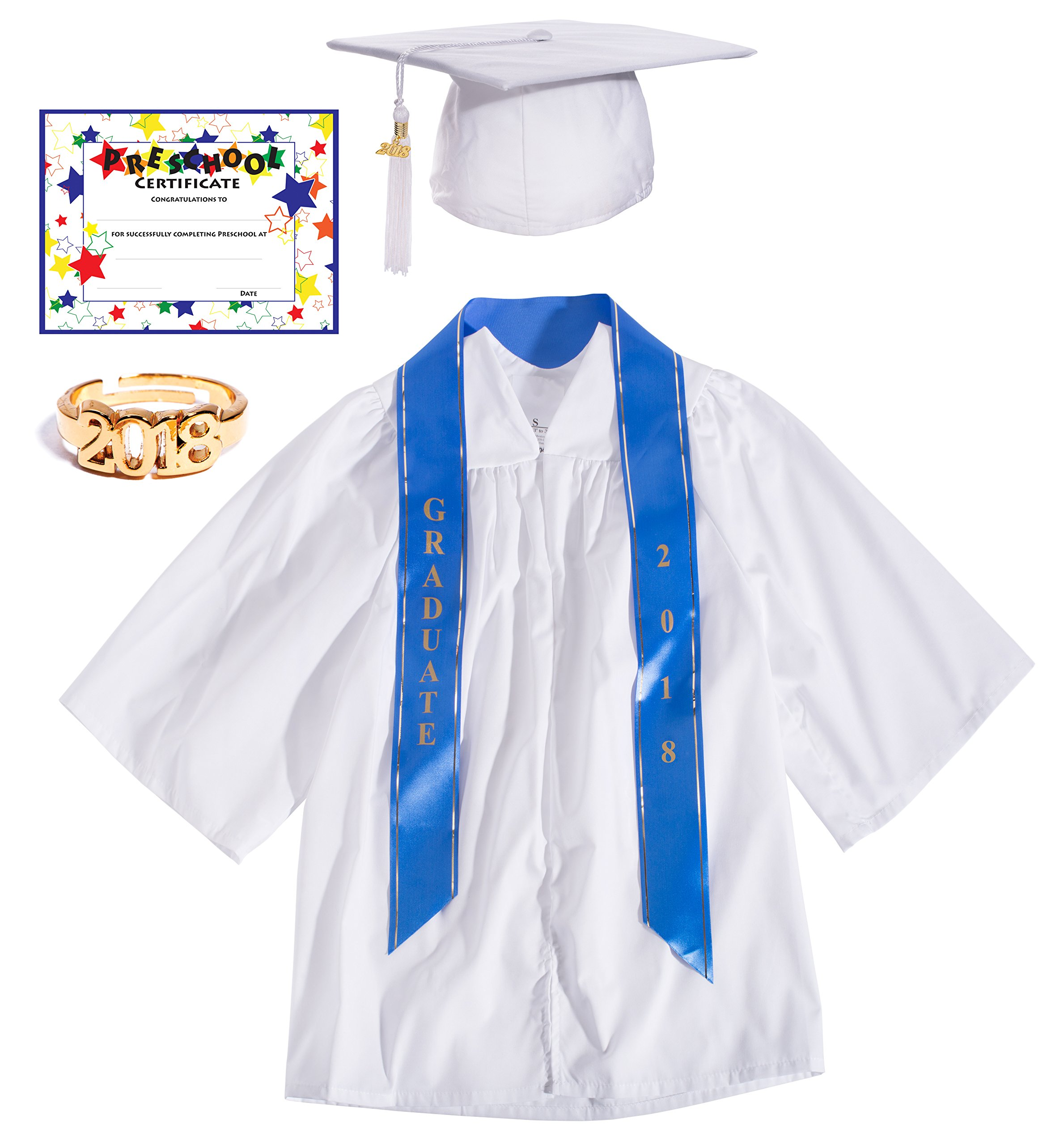 White Deluxe Matte Preschool Graduation Set - Large, 7-Piece Set