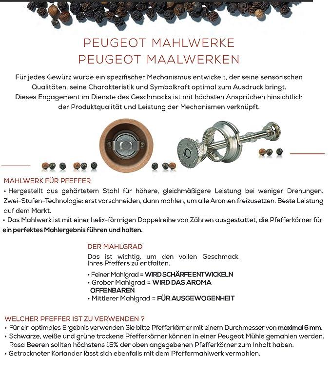 Molinillo de pimienta y sal de Peugeot Paris USelect, en 5 colores; 12, 18, 22, 27, 30, 40 cm y cuchillo universal de acero inoxidable, Molinillo de ...