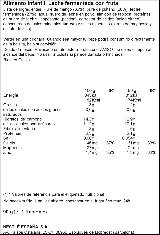 Nestlé Iogolino Leche Fermentada con Fruta, Mango Plátano - 90 g: Amazon.es: Amazon Pantry