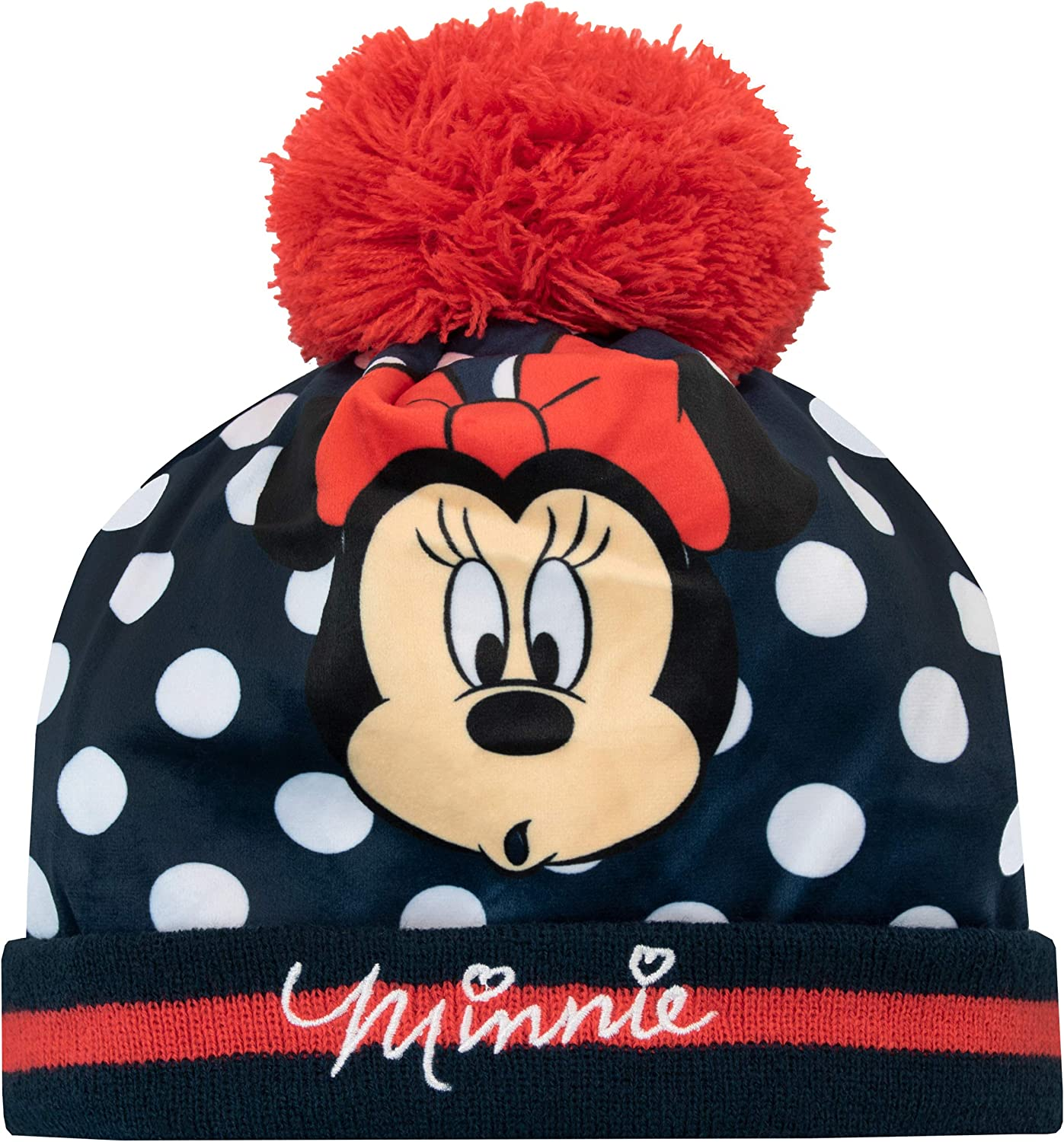 DISNEY MINNIE MOUSE RED BEANIE HAT /& MITTENS NEW!