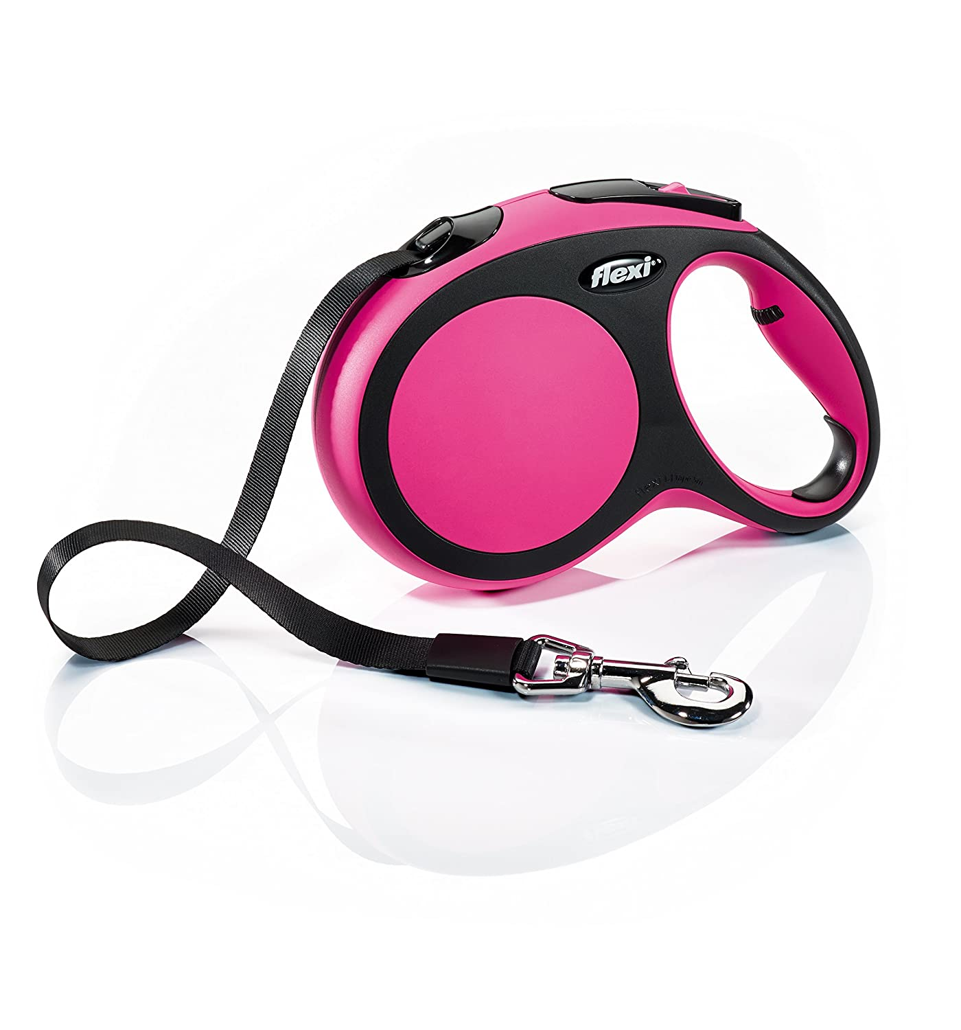 Flexi New Comfort Retractable Dog Leash (Tape), 16 ft, Large, Pink