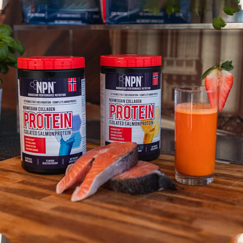 NPN Collagen protein   Proteína de colágeno   Soporte articular, cutáneo y muscular   Salmon sourched, calidad noruega premium   10x20g Naranja mango ...