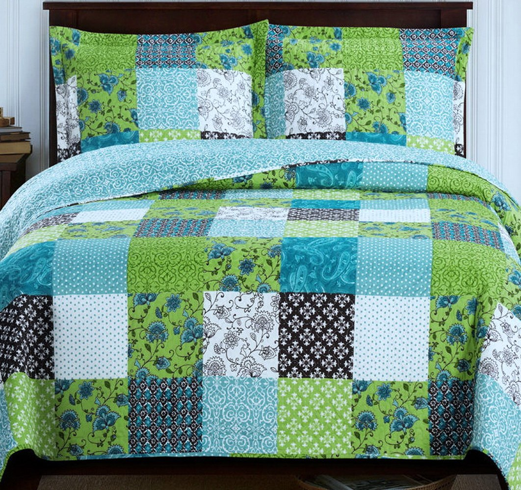 Country Cottage Patchwork Blue Green Quilt Coverlet Set Full/Queen
