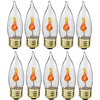 Creative Hobbies® 10J Flicker Flame Light Bulb -Flame Shaped, E26 Standard Base, Flickering Orange Glow - Box of 10 Bulbs