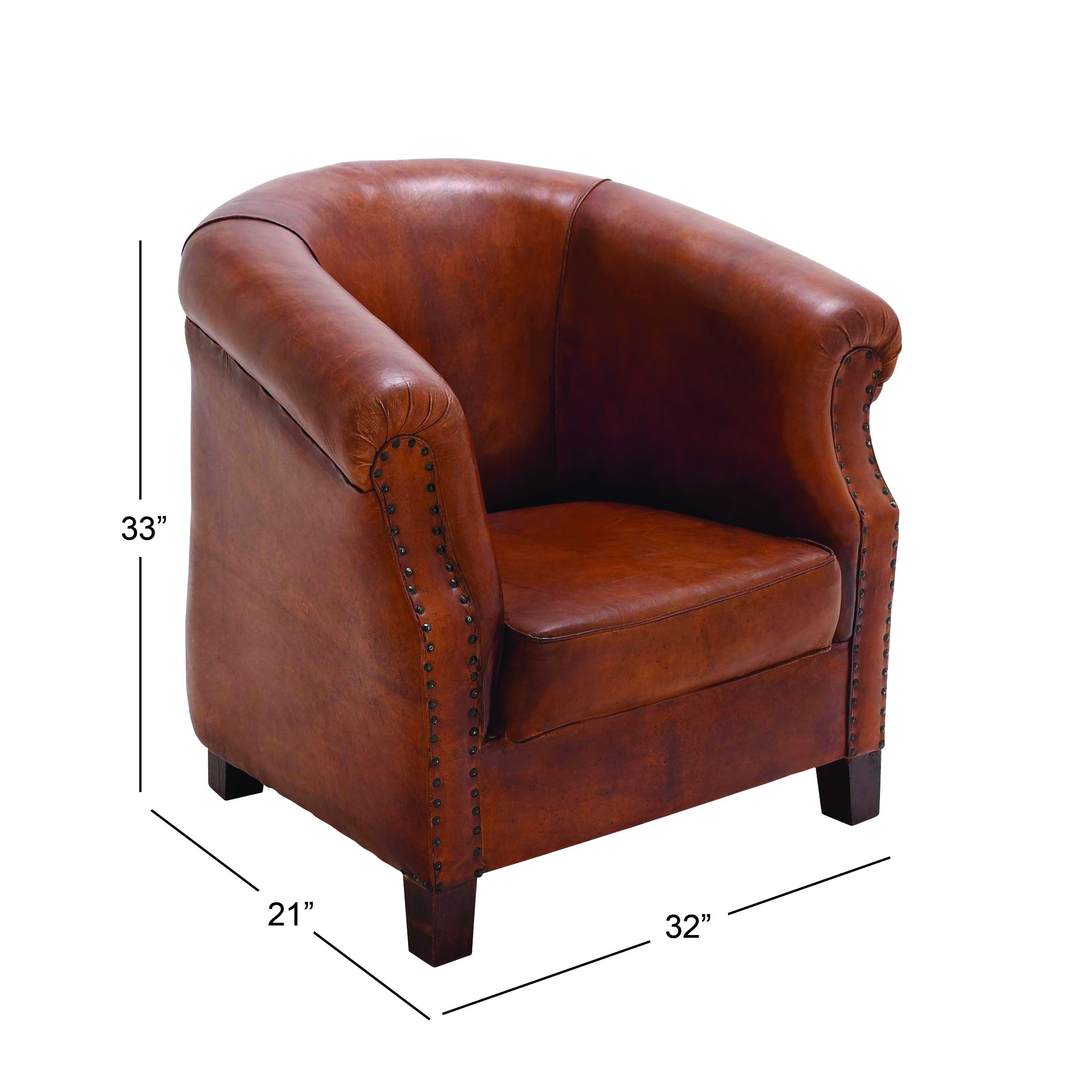 Deco 79 80876 Real Leather Captains Chair, 32'' x 33''