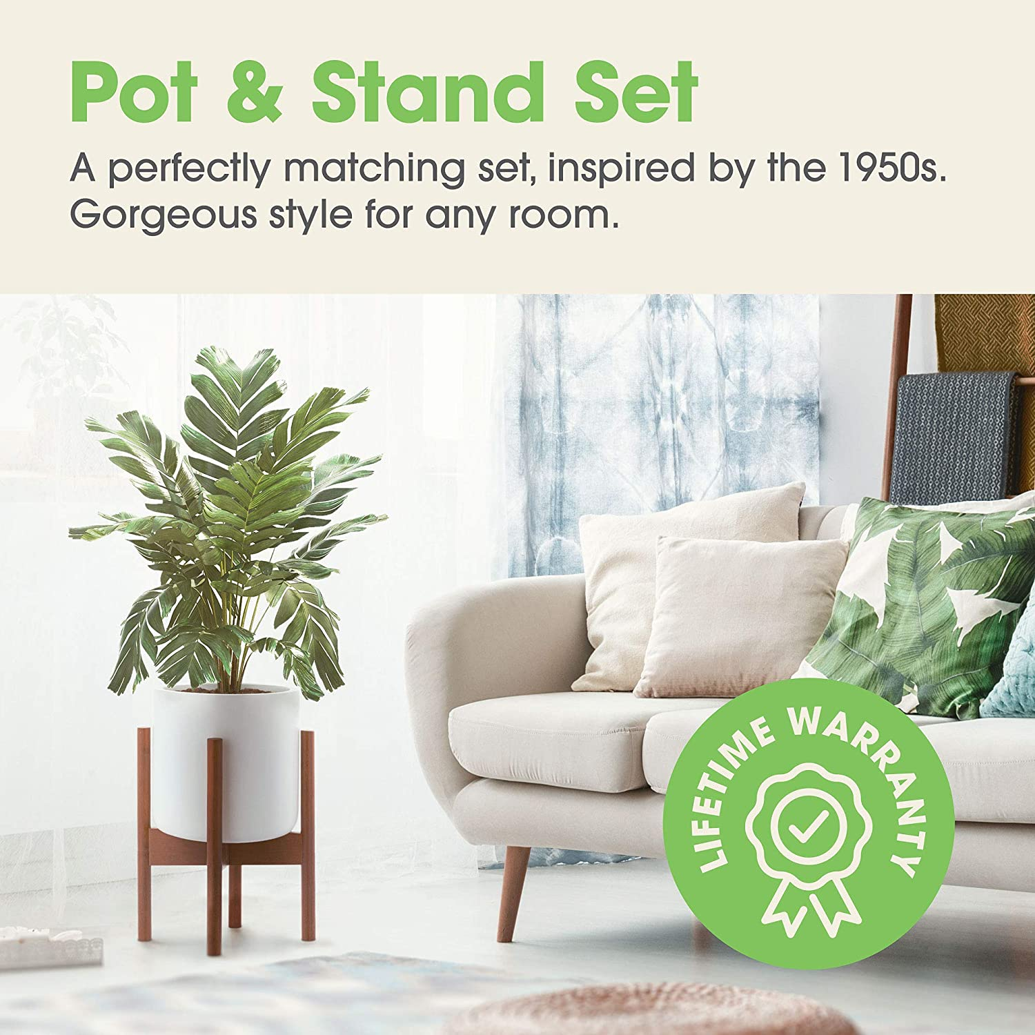 10 Inch Flower Pot Modern Indoor Planter with Stand Decor EdenHomes Mid Century Modern Plant Stand with Pot Set White Plant Pot with 14 Inch Tall Plant Holder