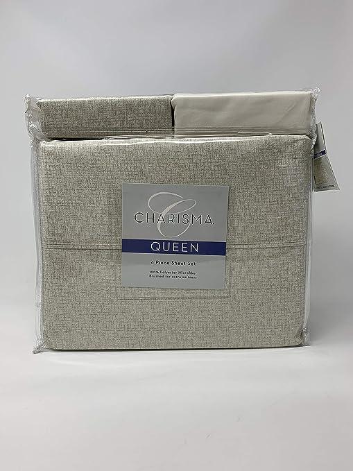 1 Fitted,4 Pillowcases Charisma 6 Piece Tweed Linen Sheet Set 1 Flat Sheet