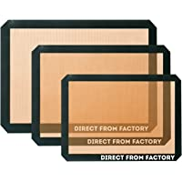 DIRECT FROM FACTORY Silicone Baking Mat (Pack of 3) – 22.86x33.02 cm, 25x37.5cm, 42x29.5cm - Non Stick Sheet for Pastry, Cookie, Bread, Macaron - Heat Resistant Dough Liner for Standard Baking Trays