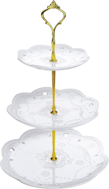 Puesto de Servicio Series Sweet.Time MALACASA Soporte de la Torta Porcelana de 3 Pisos Redondo Placa