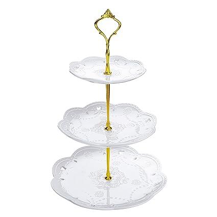 Time, Bandejas para Tartas, Vajilla de Porcelana 3 Capas de