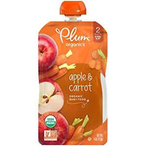 Plum Organics, Stage 2 Organic Baby Food, Apple & Carrot, 4 Ounce Pouch (Pack of 12)