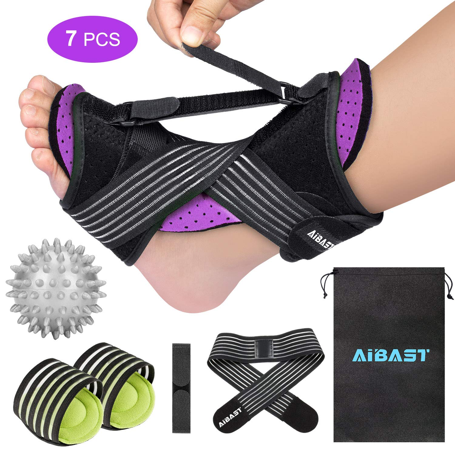 2020 New Upgraded Purple Night Splint for Plantar Fascitis, AiBast Adjustable Ankle Brace Foot Drop Orthotic Brace for Plantar Fasciitis, Arch Foot Pain, Achilles Tendonitis Support for Women, Men: Industrial & Scientific
