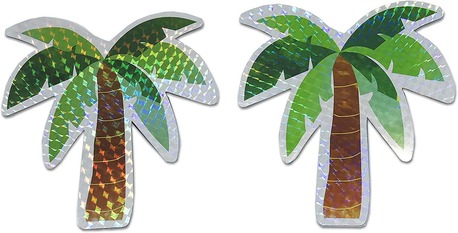 "Palm Tree Screen Door Saver Magnets (5"" x 5.2"") Decorative Holographic Coconut Tree Magnets (2 pcs/lot) for Lanai Screen Patio Door Magnets Hawaii Home Decor"