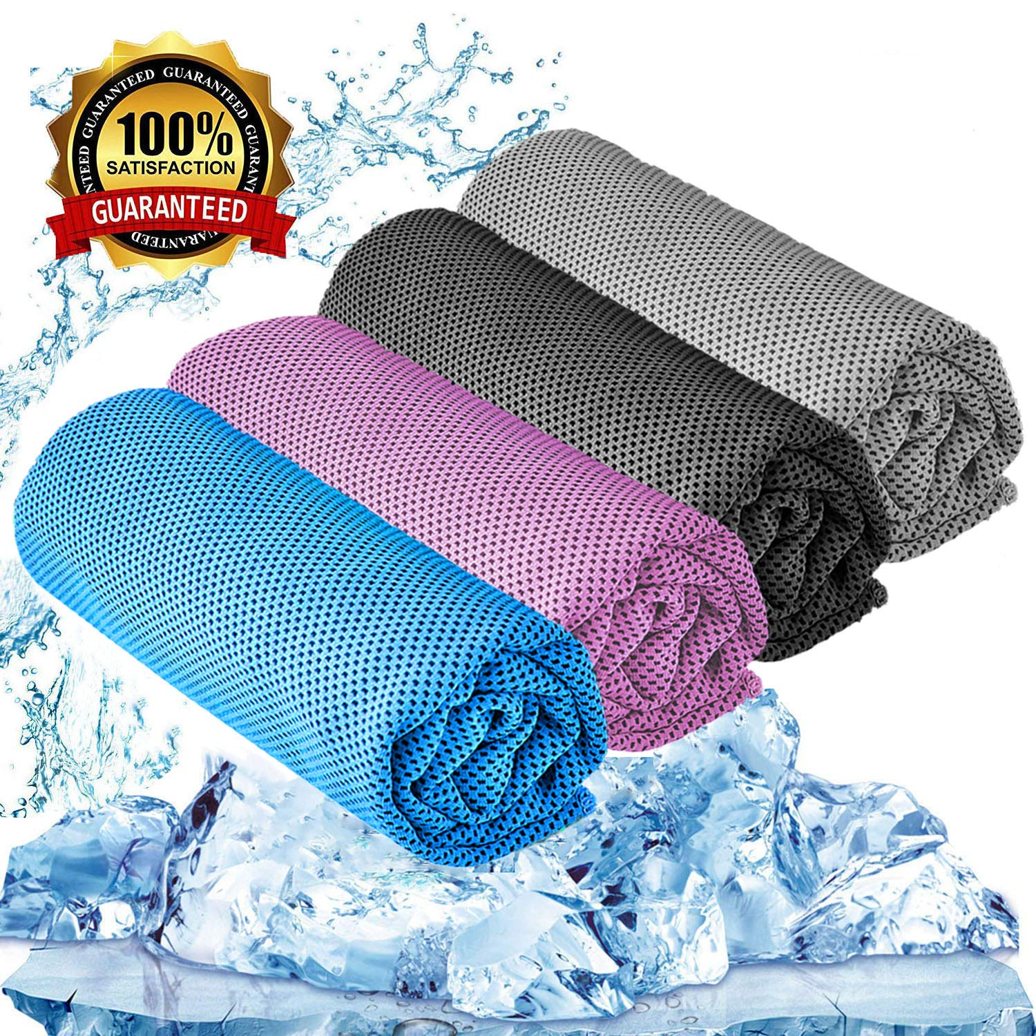 """YQXCC Cooling Towel 3 Pcs (47""""x12"""") Microfiber Towel for Instant Cooling Relief, Cool Cold Towel for Yoga Golf Travel Gym Sport Camping Football & Outdoor Sports"""