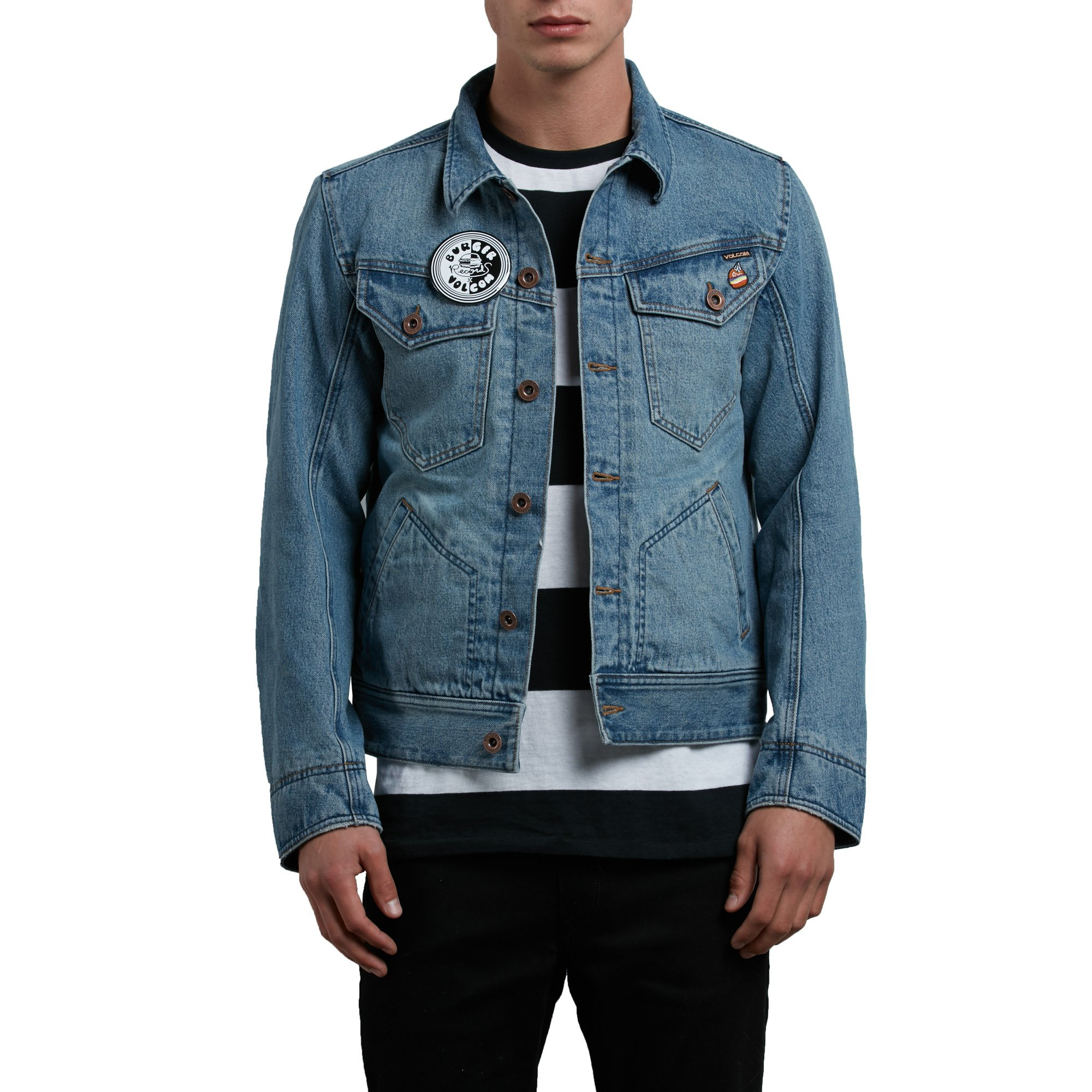 Volcom Men's Burger Record X Denim Jacket, Wrecked Indigo, L