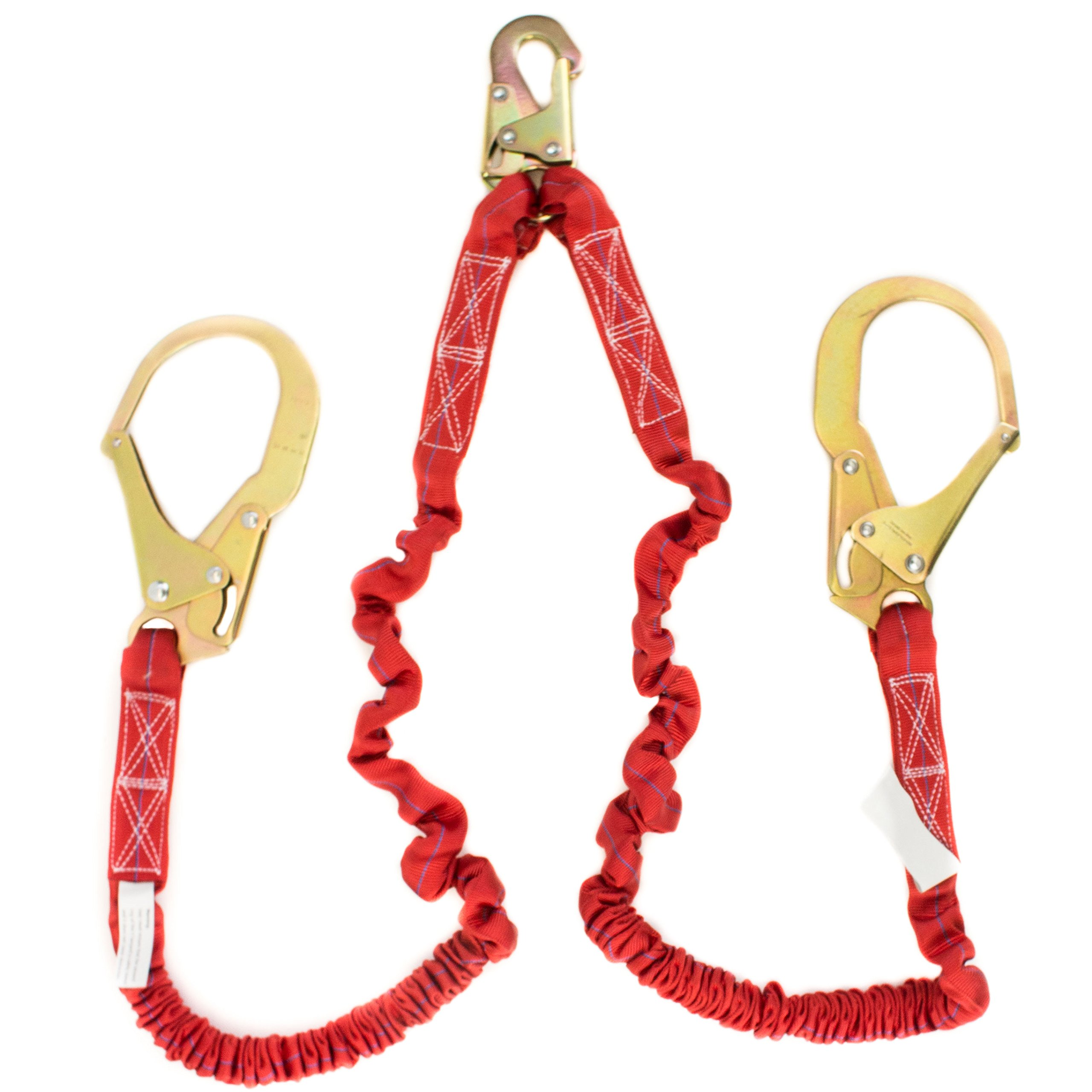 Spidergard SPL-S201 6-Feet Double Leg Internal Shock Absorbing Lanyard with Two Rebar Hooks, Red