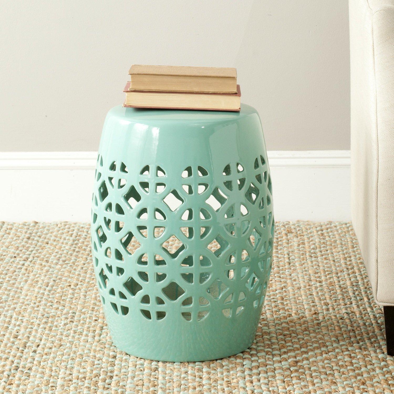 Amazon.com: Safavieh Castle Gardens Collection Circle Lattice Ceramic  Garden Stool, Light Blue: Kitchen U0026 Dining