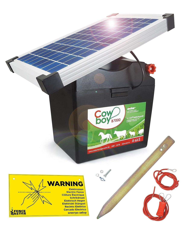 Batterie Rechargeable au Soleil Koll Living Cowboy B7000 Appareil de cl/ôture /électrique avec Batterie 12 V et Module Solaire 10 W sans Entretien Fabriqu/é en Allemagne