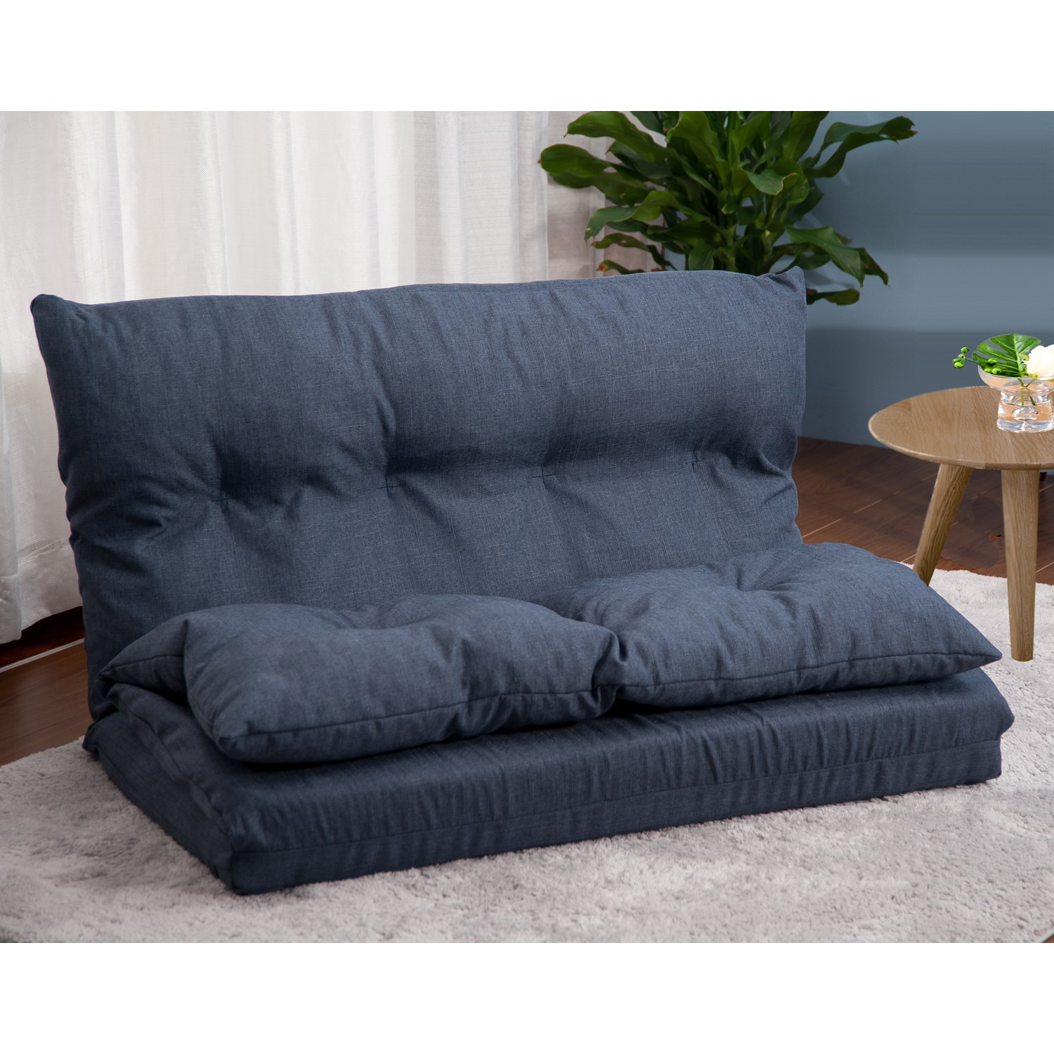 Merax Adjustable Fabric Folding Chaise Lounge Sofa Chair Floor Couch (Navy 1) by Merax